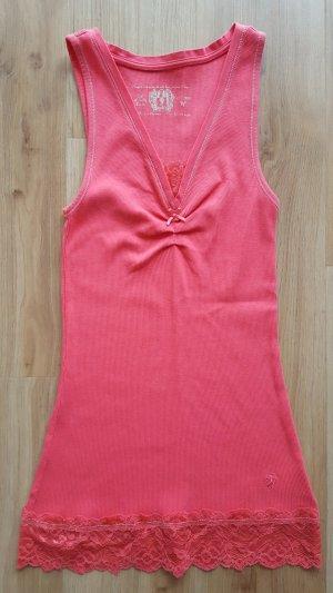 Esprit edc Top mit Spitze flamingo / koralle / pink Gr. M *** sehr guter Zustand ***