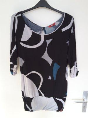 Esprit edc Tunika mit geometrischem Muster schwarz/weiß/petrol XL