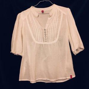 Esprit edc weiße Bluse mit Plissee-Falten und Knöpfen