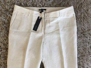 Esprit Pantalón de lino blanco puro tejido mezclado