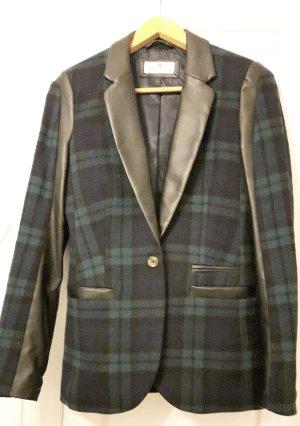 ESPRIT Edler Oxford-Style Karierter Blazer mit Ledereinsätzen, Größe 36