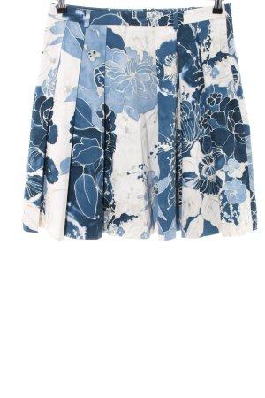 Esprit Faltenrock blau-wollweiß Blumenmuster Casual-Look