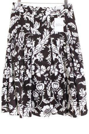 Esprit Faltenrock schwarz-weiß florales Muster klassischer Stil