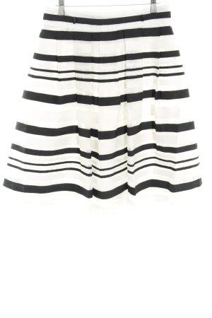Esprit Faltenrock wollweiß-schwarz Streifenmuster Elegant