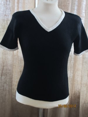 Esprit Short Sleeve Sweater black-natural white cotton