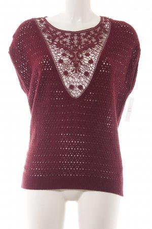 Esprit Fine Knitted Cardigan dark red classic style