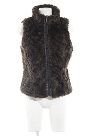 Esprit Smanicato di pelliccia marrone-nero stile casual