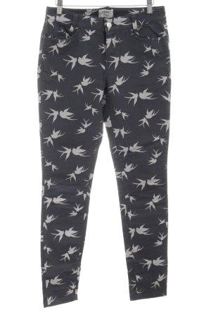 Esprit Pantalone cinque tasche nero-bianco sporco Stampa a tema stile casual