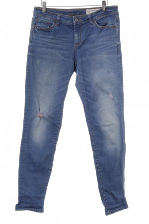 Esprit Five-Pocket-Hose stahlblau meliert Used-Optik