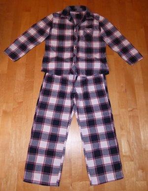 Esprit Flanell Pyjama Schlafanzug Karo-Muster Blau-weiß 40 w. Neu