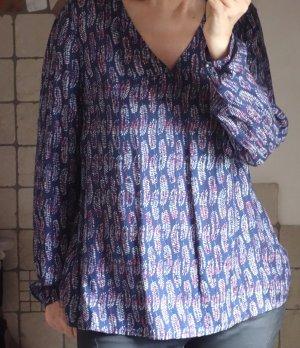 Esprit, fließende Bluse mit Feder-Print, dunkelblau, rot, weiß, Navy