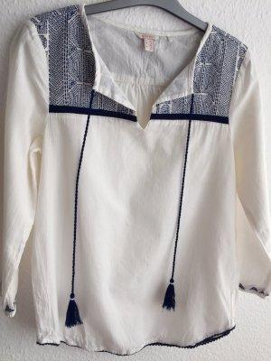 Esprit Blouse à enfiler blanc-bleu foncé coton