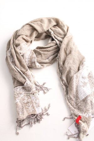 Esprit Fringed Scarf natural white mixed pattern casual look