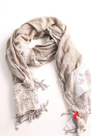 Esprit Bufanda de flecos blanco puro Mezcla de patrones look casual