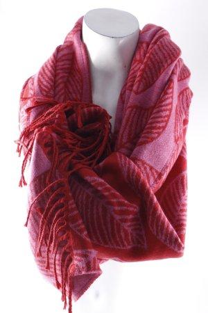 Esprit Fransenschal magenta-rosa florales Muster Kuschel-Optik