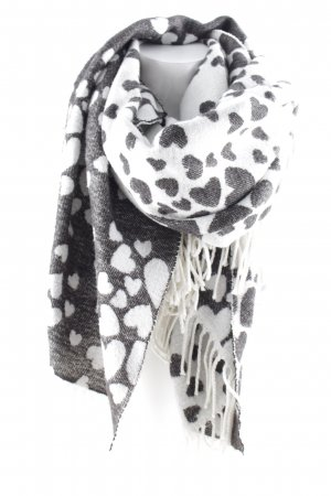 Esprit Fringed Scarf black-natural white Herzmuster casual look