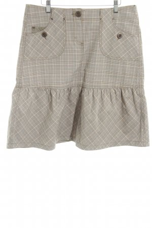 Esprit Flared Skirt natural white-brown check pattern casual look