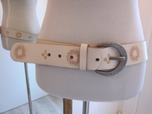 Esprit Leather Belt white-cognac-coloured leather