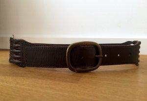 Esprit-Gürtel mit Flechtdetail - echtes dunkelbraunes Leder - Gr. 80
