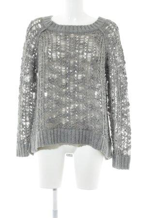 Esprit Pullover all'uncinetto grigio scuro-grigio Motivo a maglia leggera