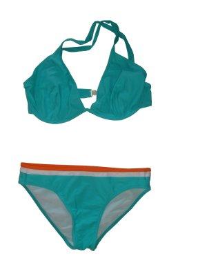 Esprit Halterneck Bikini Zweiteiler vorgeformte Cups türkis weiß 40 D neu