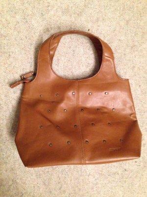 Esprit Handtasche in braun cognac mit Nieten
