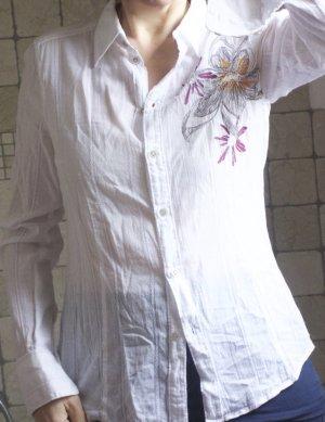 Esprit Hembluse aus leichter Baumwolle, zart bestickt, floral, Baumwolle, tailliert, weicher Stoff, zart, bestickt mit violett, grün, Spitze, bester Zustand, Gr. 38