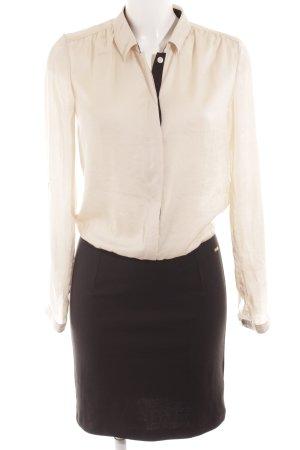 Esprit Hemdblusenkleid schwarz-creme Business-Look
