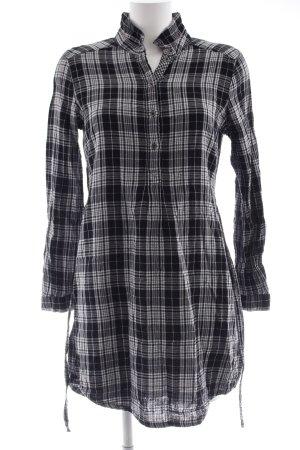 Esprit Hemdblusenkleid schwarz-weiß Karomuster Casual-Look