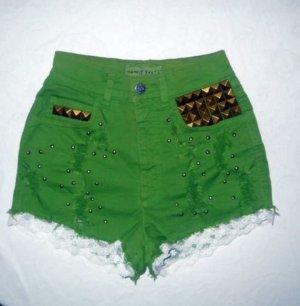 Esprit High Waist Jeans Hot Pants kurz Hose Shorts grün Nieten 32 34 36 XS S H M