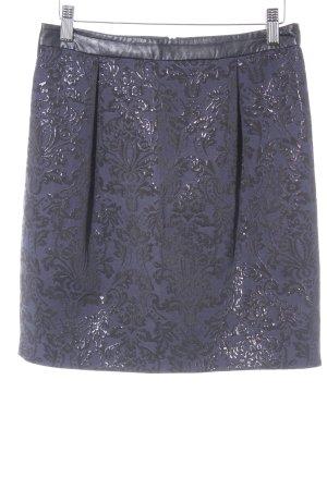 Esprit High Waist Rock schwarz-dunkelblau Ornamentenmuster Casual-Look