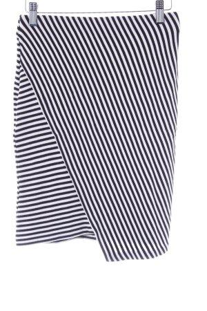 Esprit High Waist Rock schwarz-weiß Streifenmuster Casual-Look