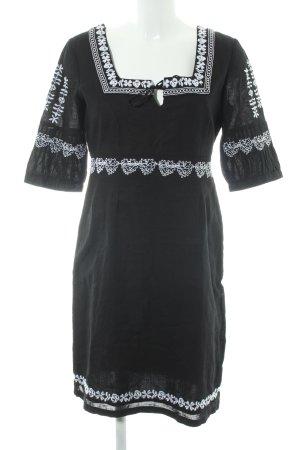 Esprit Hippie Dress black-white flower pattern Boho look