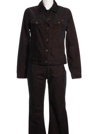 Esprit Hosenanzug schwarz-sandbraun Streifenmuster Casual-Look