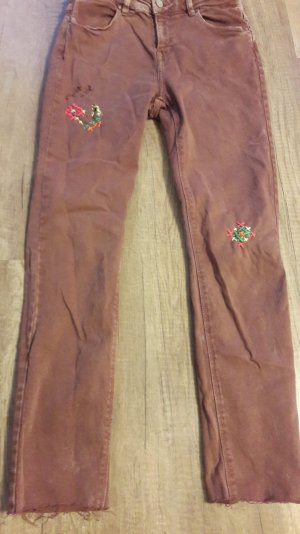 Esprit Jeans Rose Rust Used Look Stretch Röhre Neon Stickerei 36 Cutoff