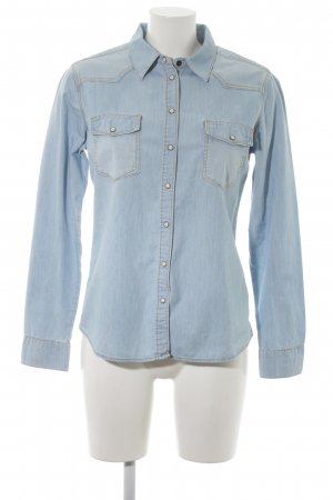 Esprit Jeans blouse lichtblauw gestippeld casual uitstraling