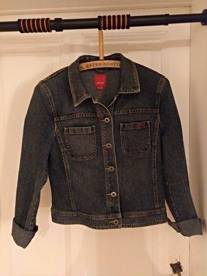 Esprit Veste en jean bleu foncé-bleu coton
