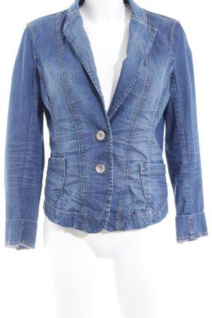Esprit Jeansjacke stahlblau-hellorange Jeans-Optik