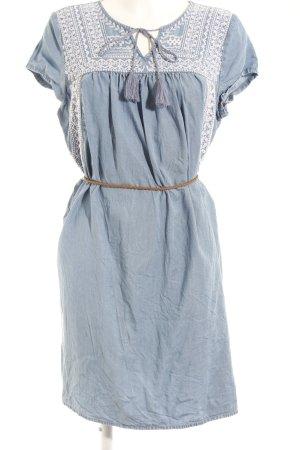 Esprit Robe en jean bleu azur-blanc motif floral style décontracté