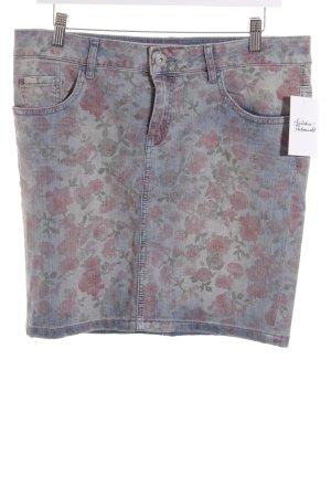 Esprit Jeansrock blau-hellrot florales Muster Casual-Look
