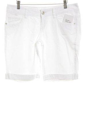 Esprit Pantalón corto de tela vaquera blanco-color plata look casual