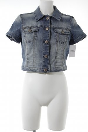Esprit Gilet en jean bleu-blanc cassé style décontracté