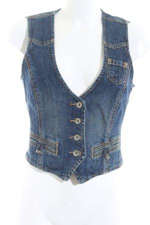 Esprit Gilet en jean bleu foncé style décontracté
