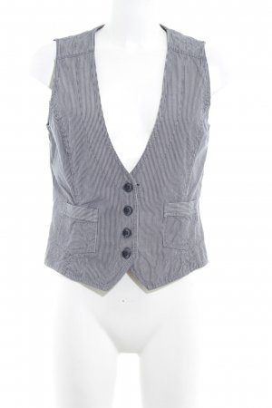 Esprit Denim Vest slate-gray-natural white striped pattern simple style
