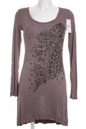 Esprit Jerseykleid hellbraun-schwarz Motivdruck Casual-Look