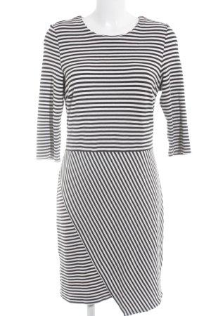 Esprit Jerseykleid schwarz-weiß Streifenmuster Casual-Look