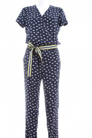 Esprit Jumpsuit blau-weiß Allover-Druck Casual-Look