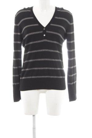 Esprit Kapuzenpullover schwarz-grau Streifenmuster Casual-Look