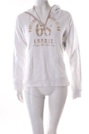Esprit Kapuzenpullover weiß-beige Schriftzug gedruckt sportlicher Stil