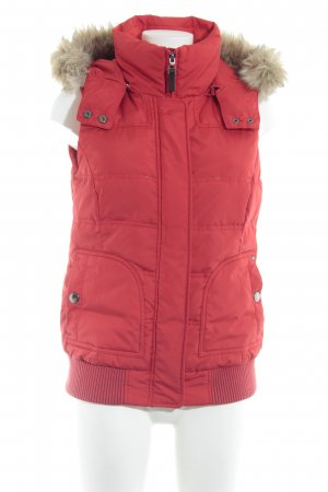 Esprit Hooded Vest red quilting pattern casual look